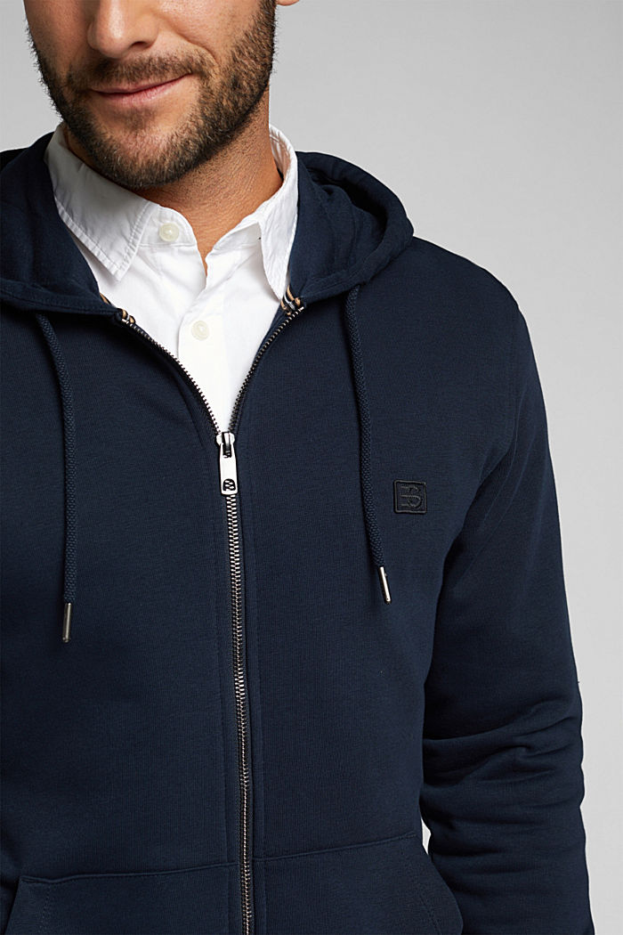 Sweat-Cardigan mit Bio-Baumwolle, NAVY, detail image number 2
