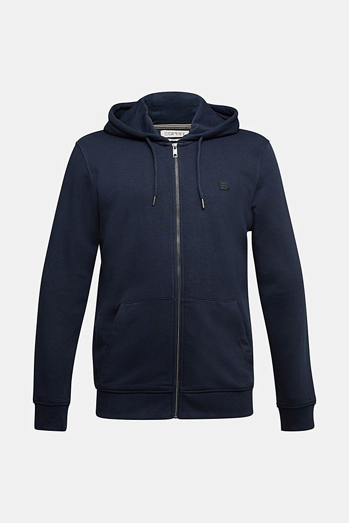 Sweat-Cardigan mit Bio-Baumwolle, NAVY, overview