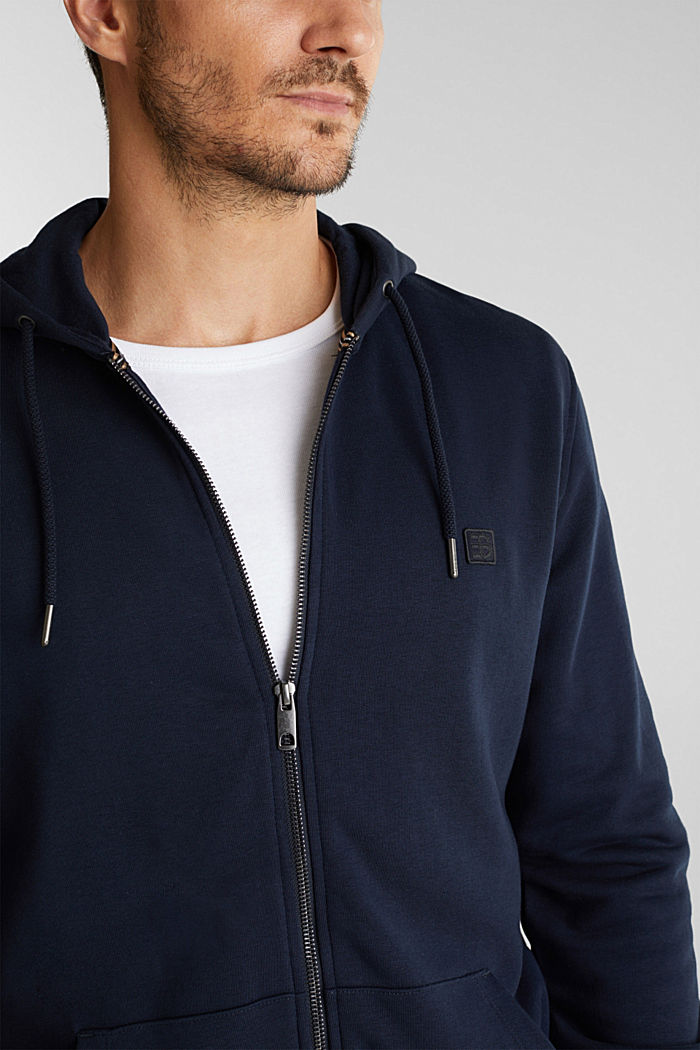 Sweatshirt cardigan with organic cotton, DARK BLUE, detail image number 2