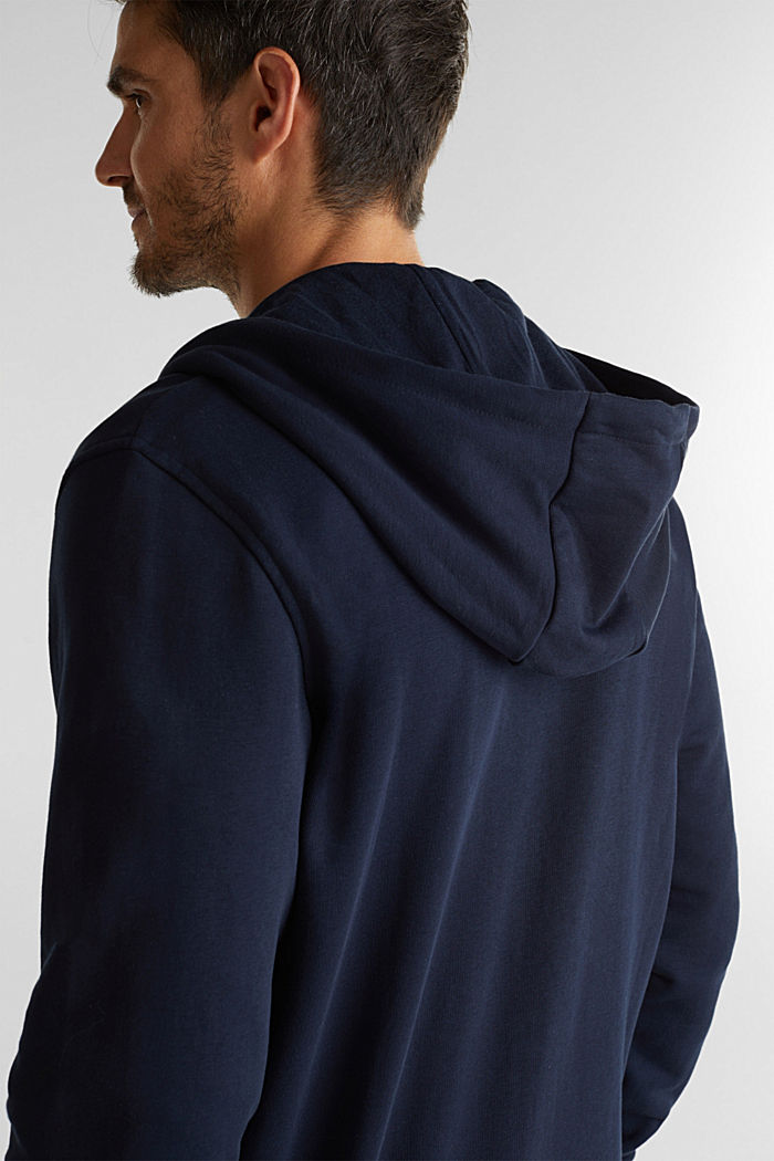 Sweatshirt cardigan with organic cotton, DARK BLUE, detail image number 5