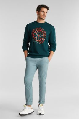 Printed jumper with organic cotton, DARK GREEN, detail