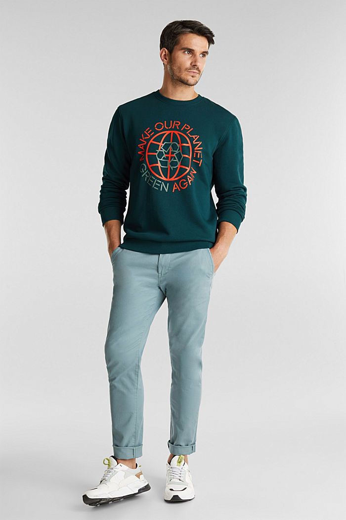 Printed jumper with organic cotton, DARK GREEN, detail image number 1