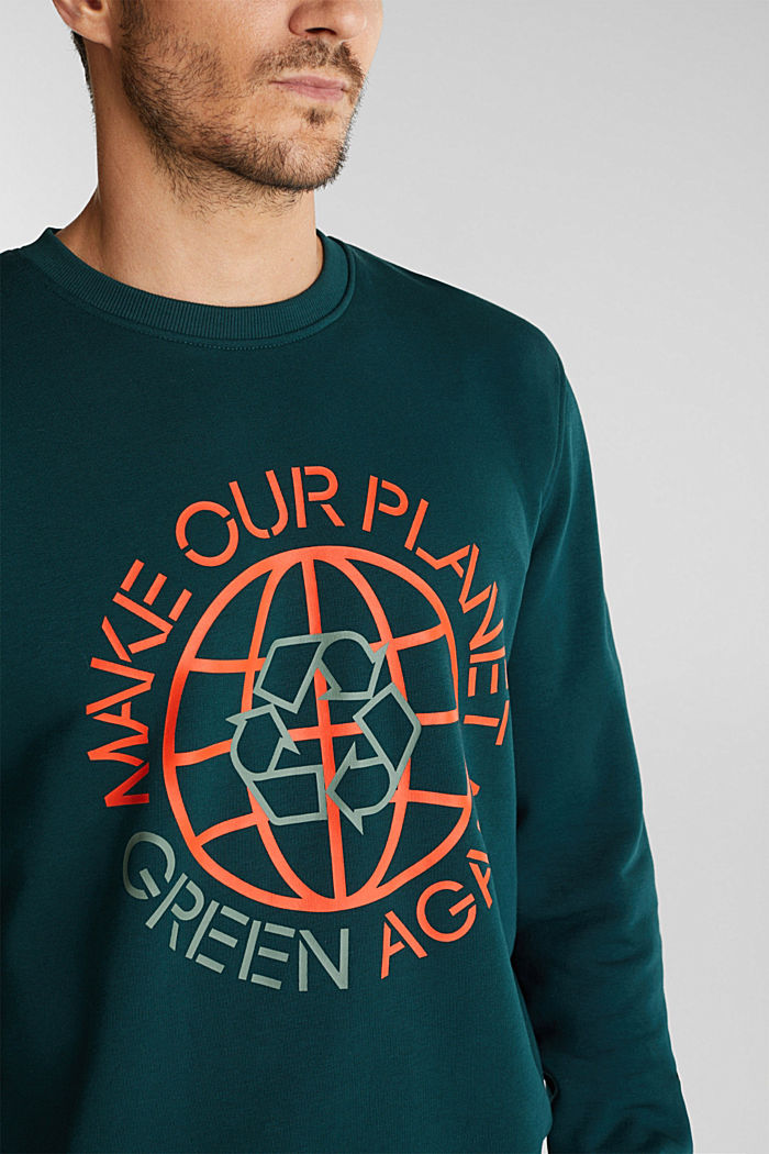 Printed jumper with organic cotton, DARK GREEN, detail image number 2