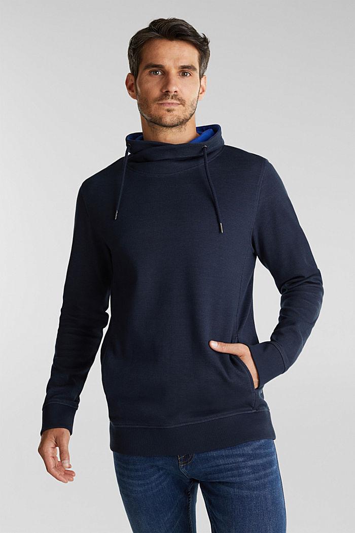Textured jumper with organic cotton, DARK BLUE, detail image number 0