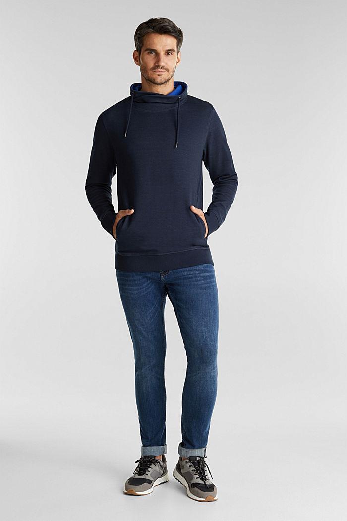 Textured jumper with organic cotton, DARK BLUE, detail image number 1