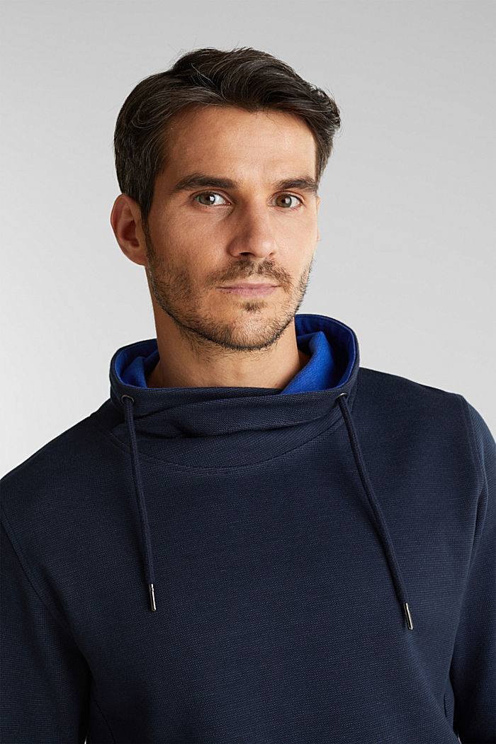 Textured jumper with organic cotton, DARK BLUE, detail image number 3