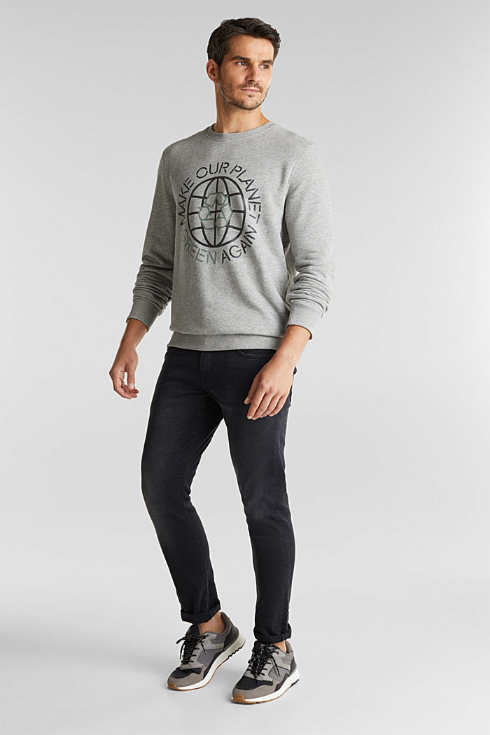 Printed sweatshirt with organic cotton, MEDIUM GREY, detail image number 1