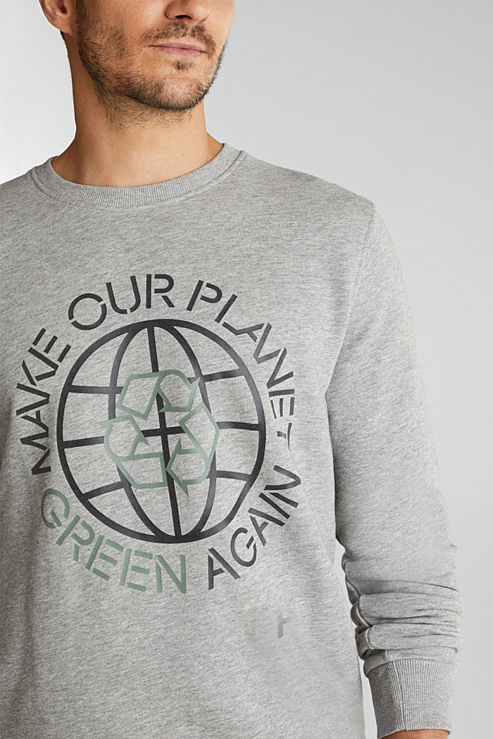 Printed sweatshirt with organic cotton, MEDIUM GREY, detail image number 2
