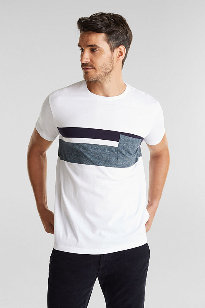 Jersey T-shirt with stripes, 100% organic cotton, WHITE, detail image number 0