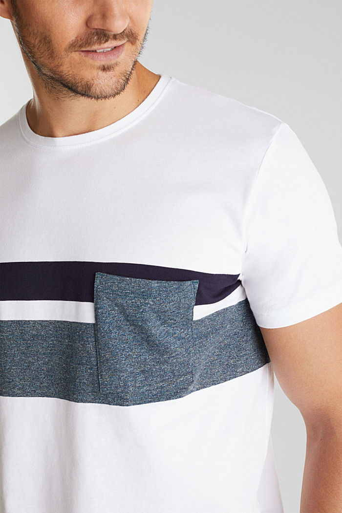 Jersey T-shirt with stripes, 100% organic cotton, WHITE, detail image number 1