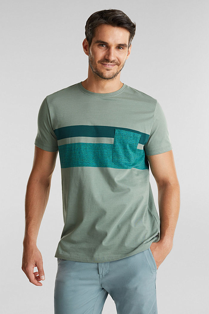 Jersey T-shirt with stripes, 100% organic cotton, LIGHT KHAKI, detail image number 0