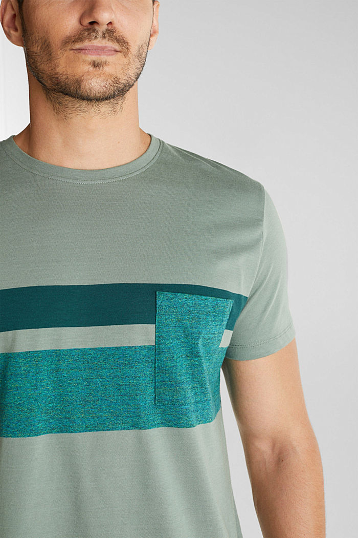 Jersey T-shirt with stripes, 100% organic cotton, LIGHT KHAKI, detail image number 1