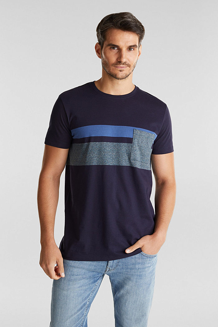 Jersey T-shirt with stripes, 100% organic cotton, NAVY, detail image number 0