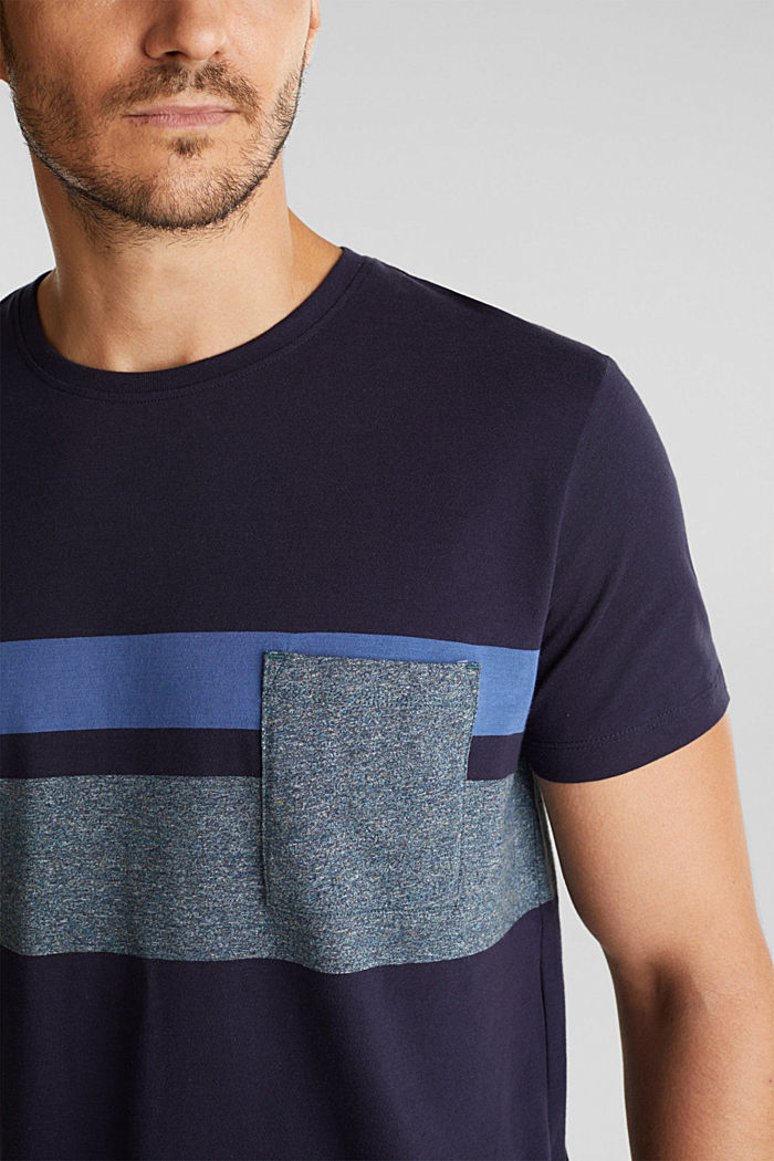 Jersey T-shirt with stripes, 100% organic cotton, NAVY, detail image number 1