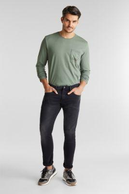 Long sleeve jersey top, 100% organic cotton, LIGHT KHAKI, detail