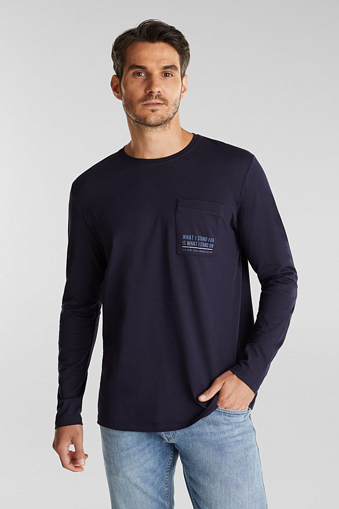 Long sleeve jersey top, 100% organic cotton, NAVY, detail image number 0