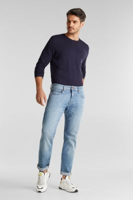 Long sleeve jersey top, 100% organic cotton, NAVY, detail