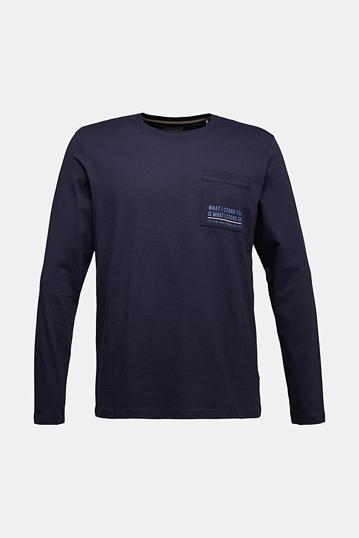 Long sleeve jersey top, 100% organic cotton, NAVY, detail image number 5