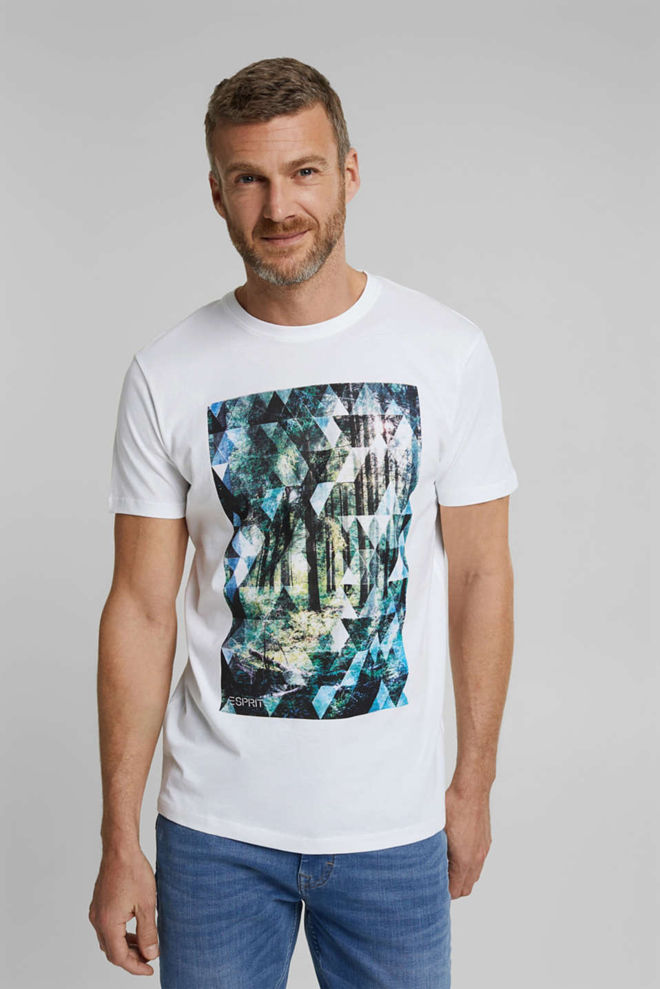 Esprit - T-shirt met fotoprint, 100% organic cotton