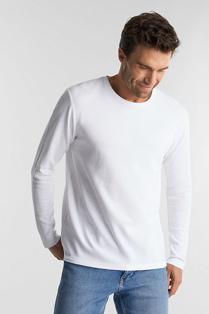 Piqué long sleeve top made of 100% organic cotton