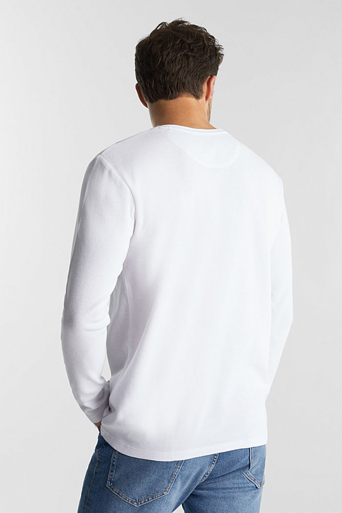 Piqué long sleeve top made of 100% organic cotton, WHITE, detail image number 3