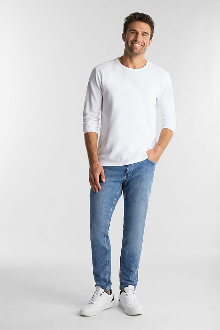Piqué long sleeve top made of 100% organic cotton, WHITE, detail image number 2