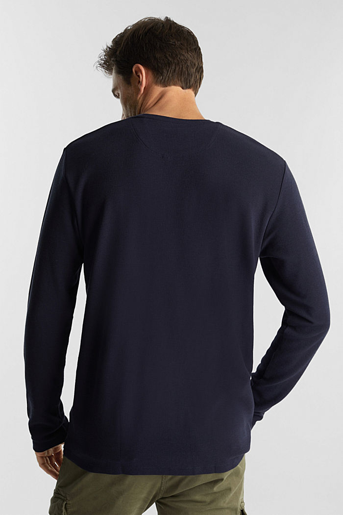 Piqué long sleeve top made of 100% organic cotton, NAVY, detail image number 3
