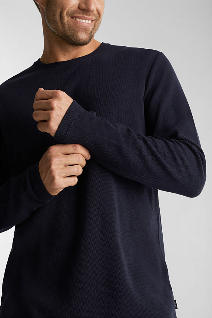 Piqué long sleeve top made of 100% organic cotton, NAVY, detail image number 1