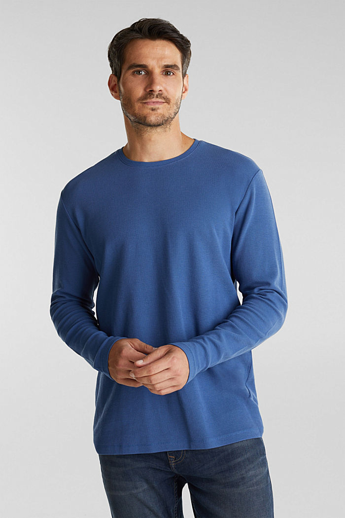 Piqué long sleeve top made of 100% organic cotton, GREY BLUE, detail image number 0