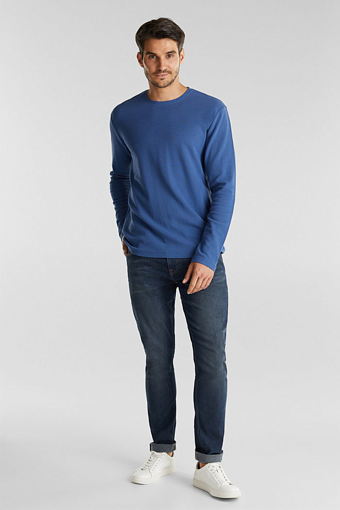 Piqué long sleeve top made of 100% organic cotton, GREY BLUE, detail image number 2