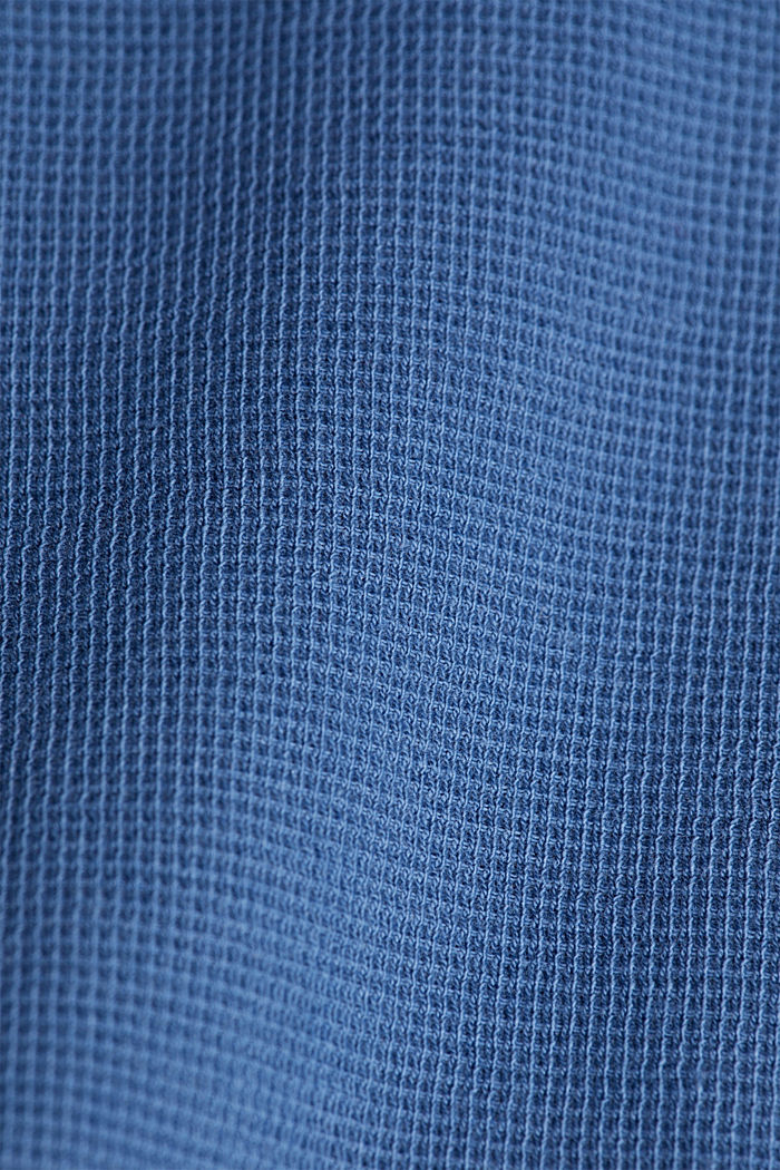 Piqué long sleeve top made of 100% organic cotton, GREY BLUE, detail image number 4