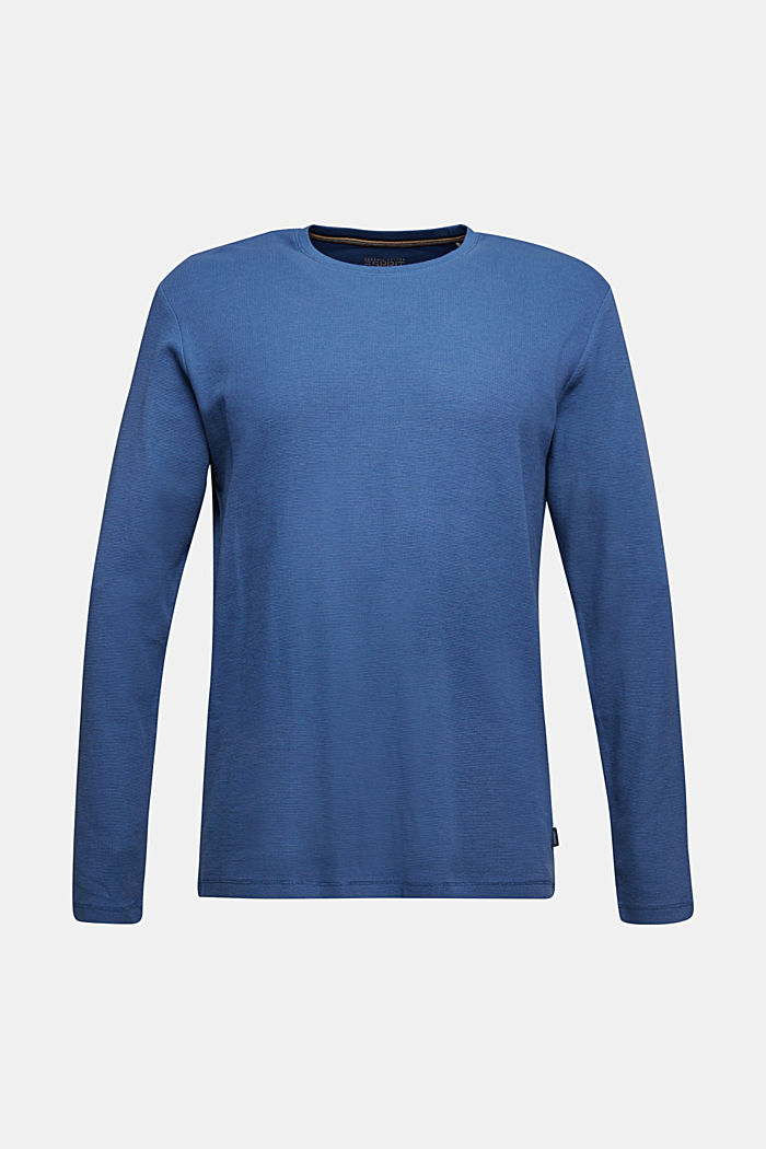 Piqué long sleeve top made of 100% organic cotton, GREY BLUE, detail image number 5