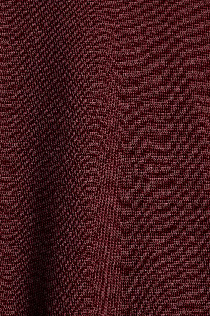 Longsleeve mit kleiner Waffel-Struktur, BORDEAUX RED, detail image number 5