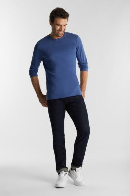 Long sleeve top made of 100% organic cotton, GREY BLUE, detail