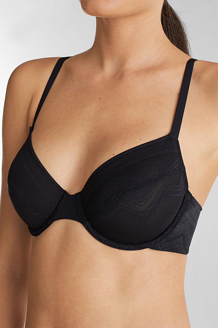 Underwire bra with zigzag lace, BLACK, detail image number 2
