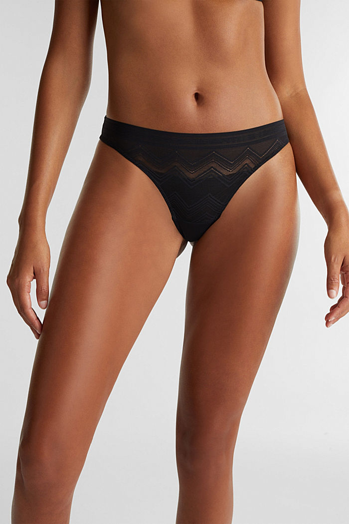 Brazilian hipster thong made of geometric lace, BLACK, detail image number 0
