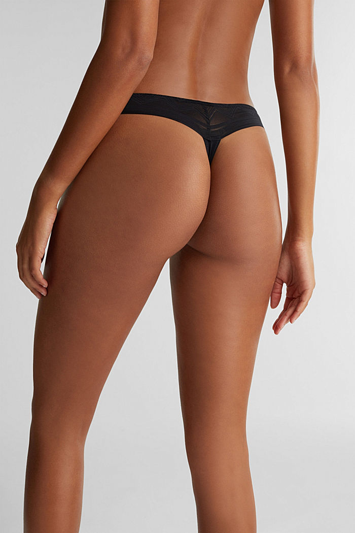 Brazilian hipster thong made of geometric lace, BLACK, detail image number 2