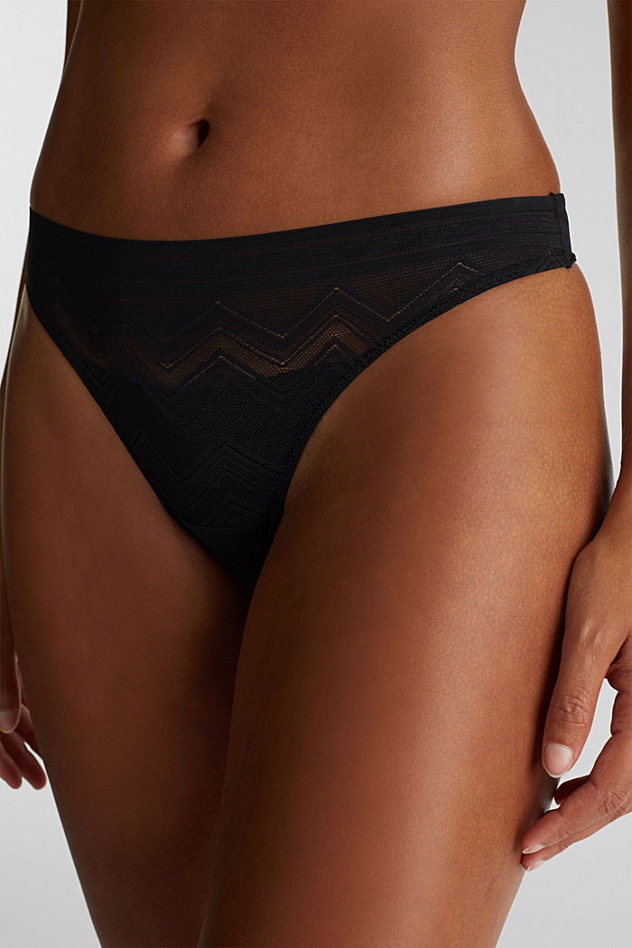 Brazilian hipster thong made of geometric lace, BLACK, detail image number 1