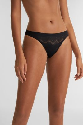 Thong made of geometric lace, BLACK, detail