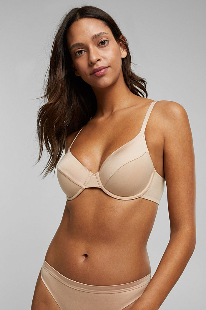 Soft, comfortable unpadded underwire bra, NUDE, overview