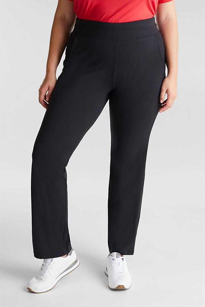 CURVY sports trousers with organic cotton, BLACK, detail image number 0