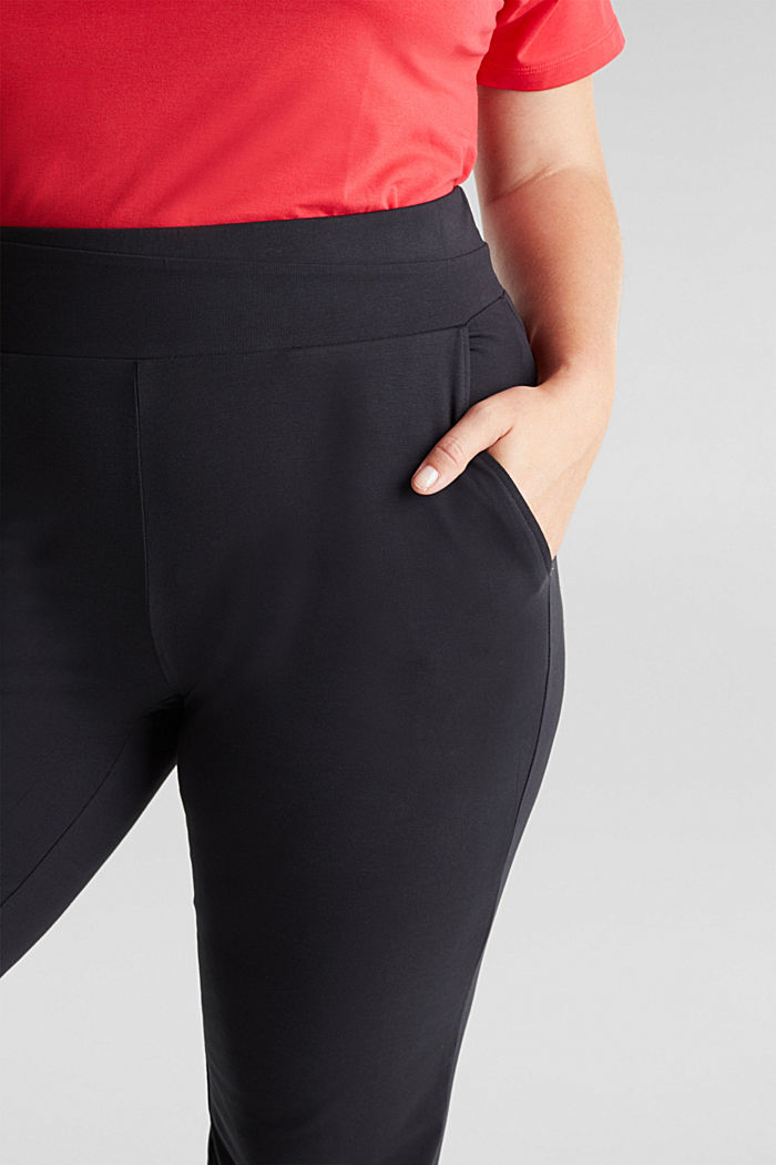 CURVY sports trousers with organic cotton, BLACK, detail image number 2