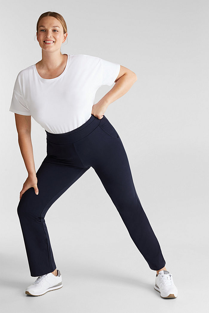 CURVY sports trousers with organic cotton, NAVY, detail image number 1