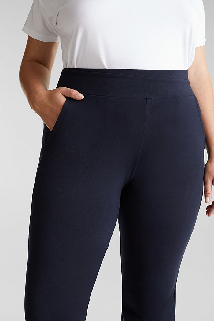 CURVY sports trousers with organic cotton, NAVY, detail image number 2