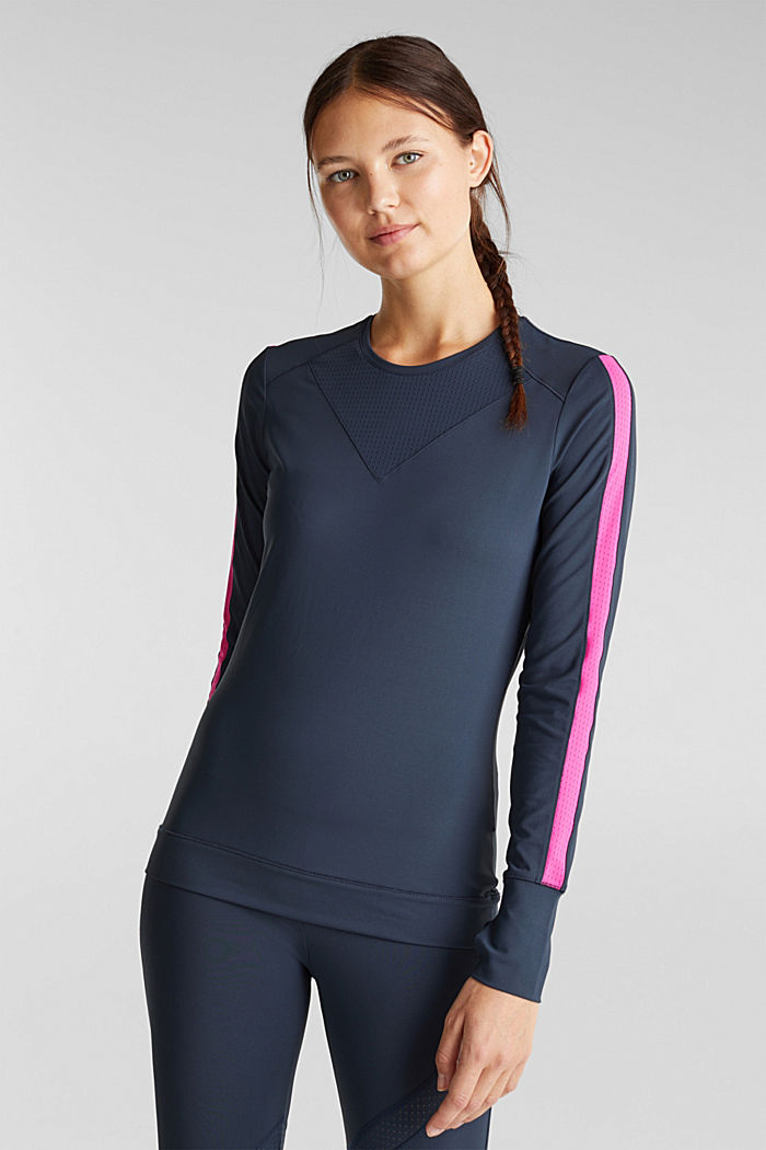 Active long sleeve top with edry, NAVY, detail image number 0