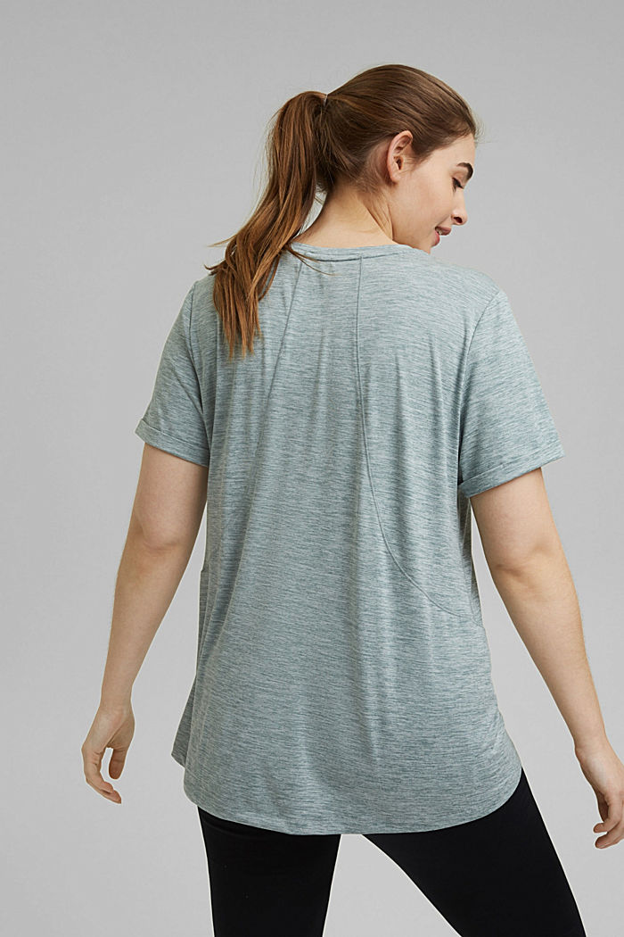 Curvy melange E-DRY top, DUSTY GREEN, detail image number 3