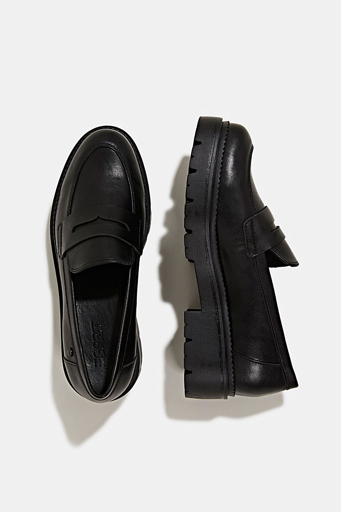 Faux leather loafers, BLACK, detail image number 1