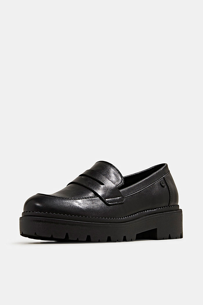 Faux leather loafers, BLACK, detail image number 2