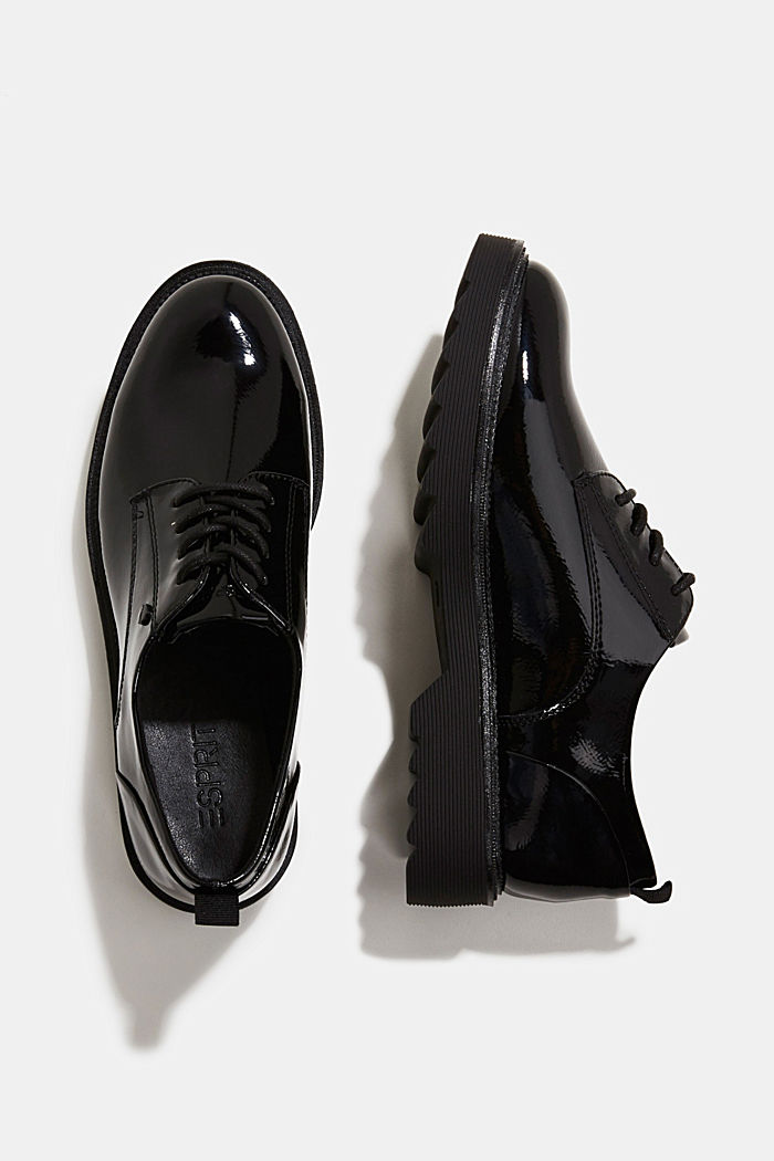 Patent lace-up shoes, BLACK, detail image number 1