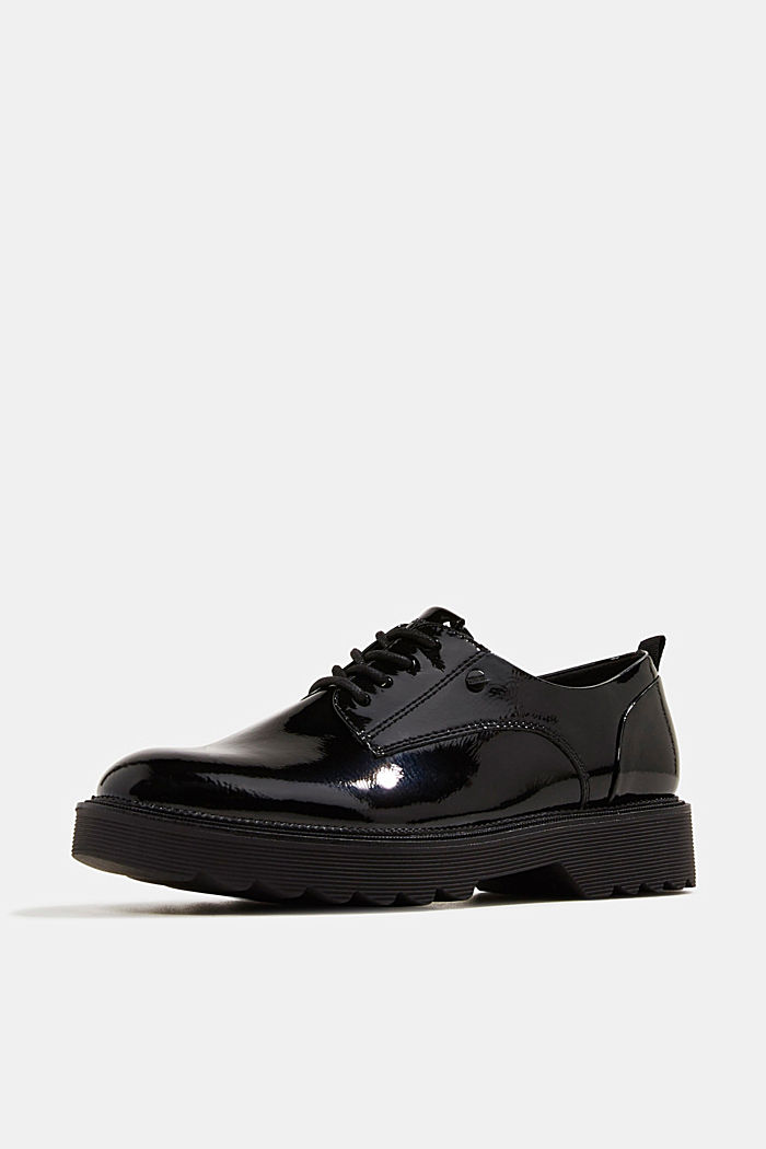 Patent lace-up shoes, BLACK, detail image number 2